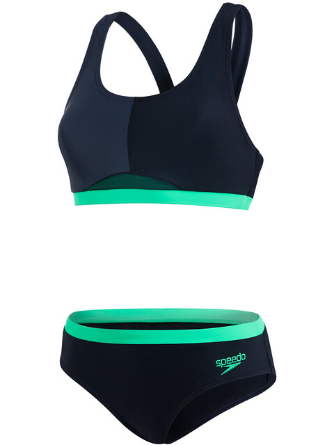 speedo HydrActive 2 Piece Bikini Women Black/Oxid Grey/Fake Green
